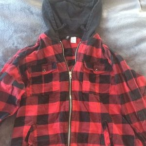 Red and black flannel hoodie